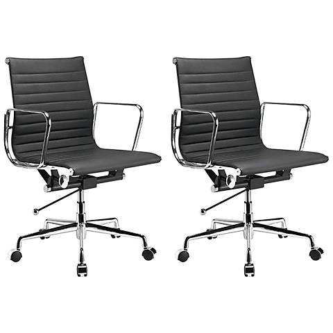 Ellwood Black Mid-Back Adjustable Office Chair Set of 2