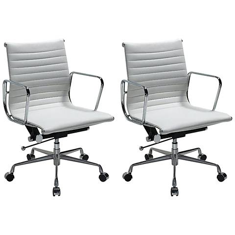 Ellwood White Mid-Back Adjustable Office Chair Set of 2