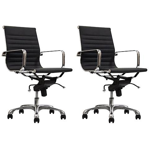 Delancey Black Mid-Back Adjustable Office Chair Set of 2