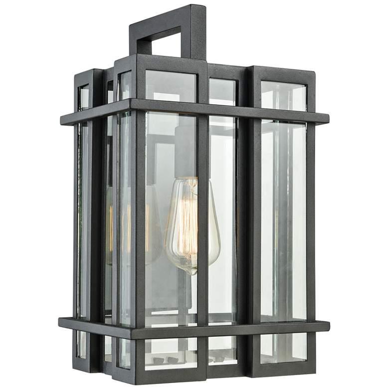 """Glass Tower 15"""" High Matte Black Outdoor Wall Light"""