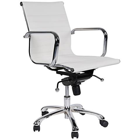 Delancey White Mid-Back Adjustable Office Chair