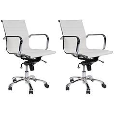 Delancey White Mid-Back Adjustable Office Chair Set of 2