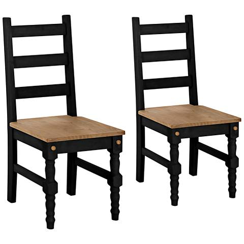 Jay Matte Black Wash Wood Dining Chair Set of 2