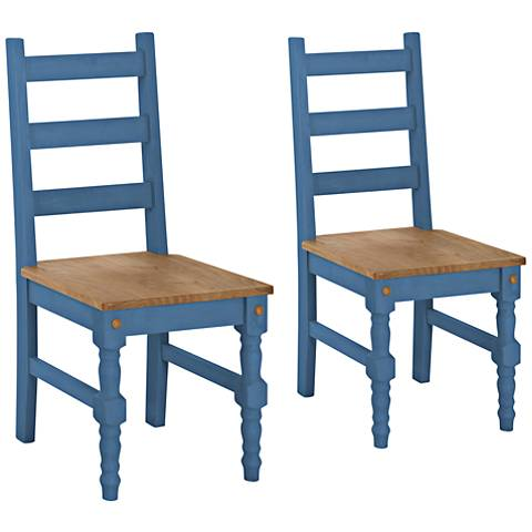 Jay Matte Blue Wash Wood Dining Chair Set of 2