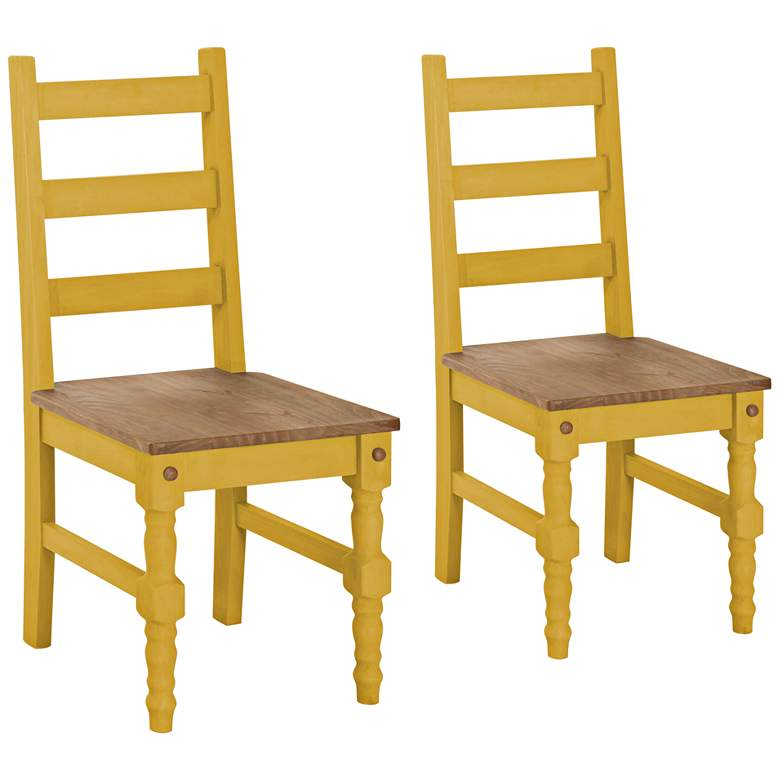 Jay Matte Yellow Wash Wood Dining Chair Set of 2