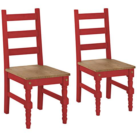 Jay Matte Red Wash Wood Dining Chair Set of 2