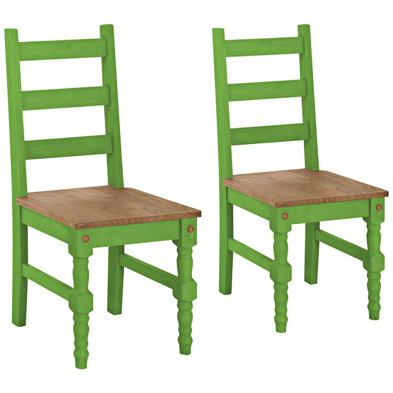 Jay Matte Green Wash Wood Dining Chair Set of 2