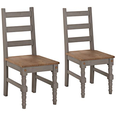 Jay Matte Gray Wash Wood Dining Chair Set of 2