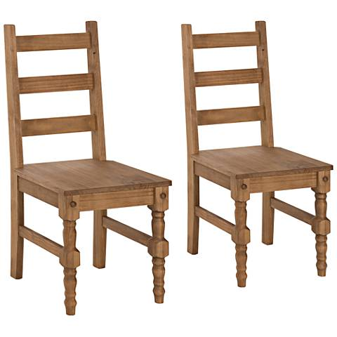 Jay Matte Nature Wood Dining Chair Set of 2