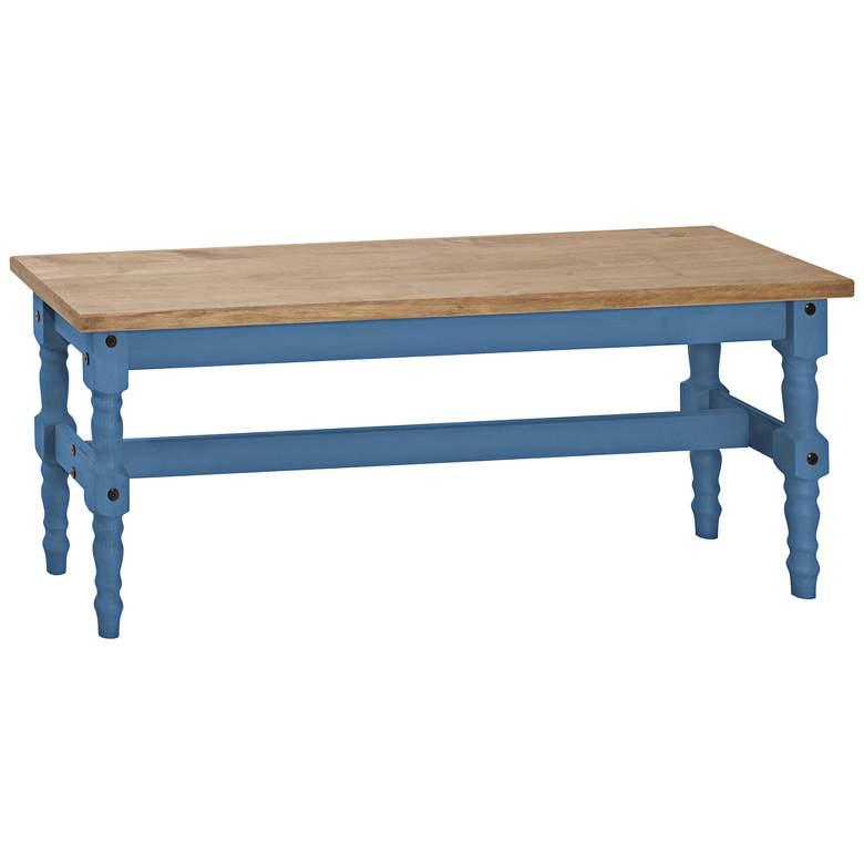 Jay Matte Blue Wash Wood Indoor-Outdoor Dining Bench