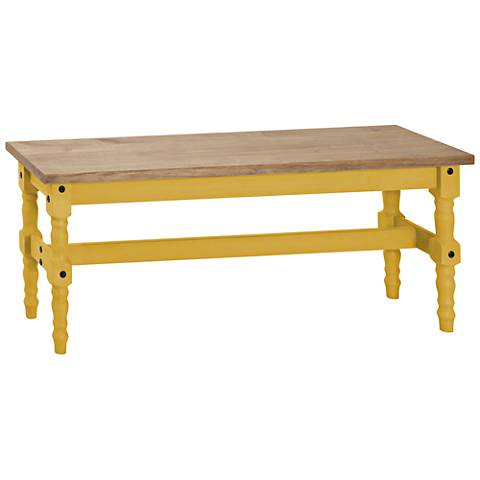 Jay Matte Yellow Wash Wood Indoor-Outdoor Dining Bench