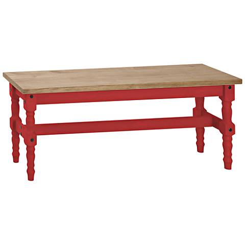 Jay Matte Red Wash Wood Indoor-Outdoor Dining Bench