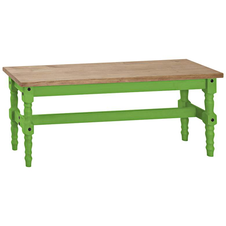 Jay Matte Green Wash Wood Indoor-Outdoor Dining Bench