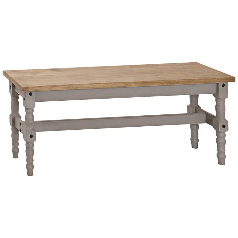 Jay Matte Gray Wash Wood Indoor-Outdoor Dining Bench