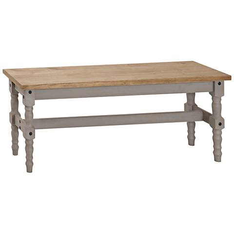 Jay Matte Gray Wash Wood Indoor-Outdoor Dining Bench