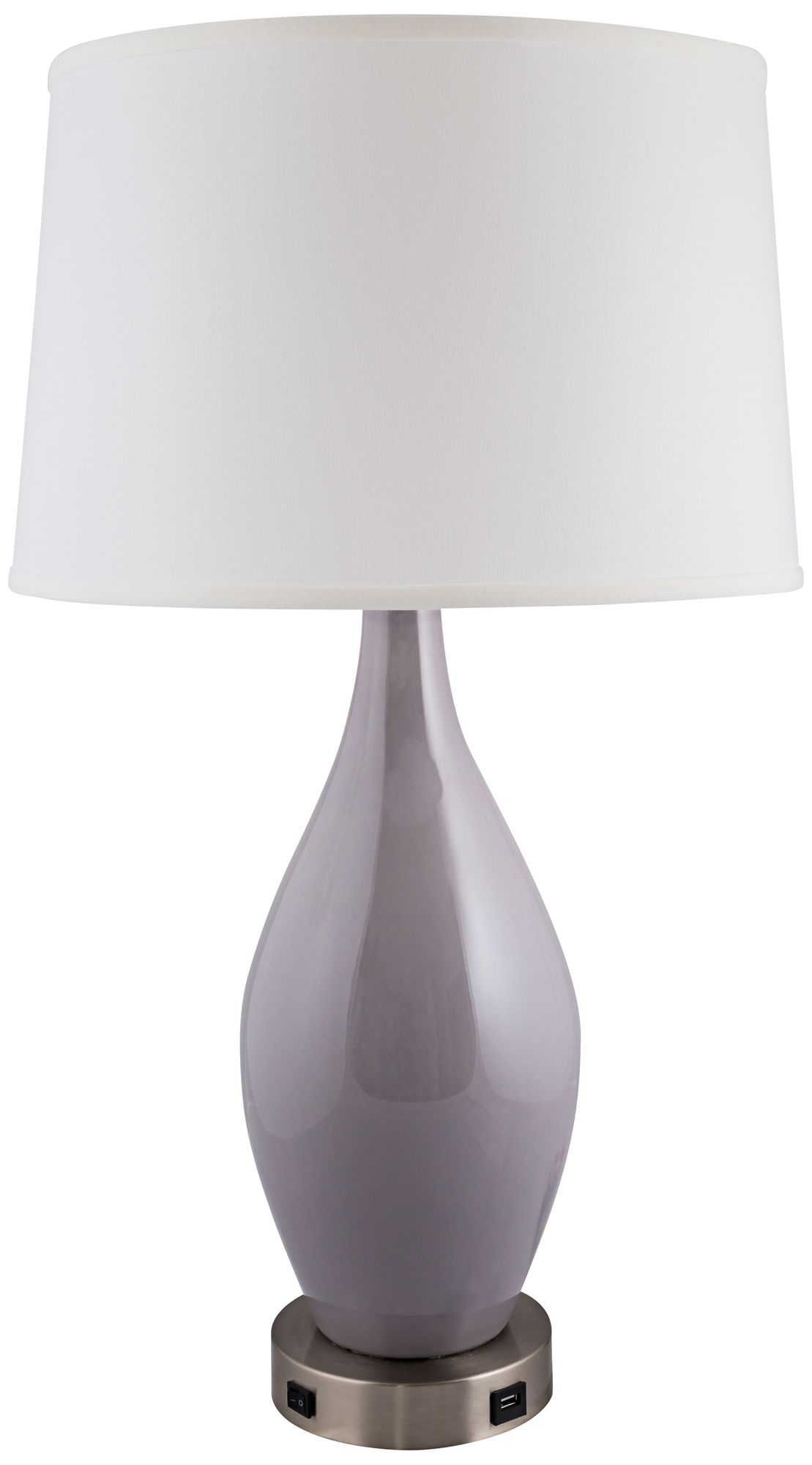 Burrough Swanky Gray Table Lamp With Outlet And USB Port   #36G68 | Lamps  Plus