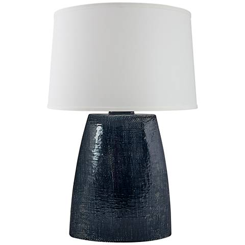 Ellis Midnight Blue Crackle Gloss Burlap Ceramic Table Lamp