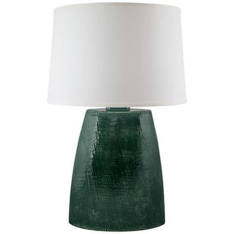 Ellis Jade Crackle Gloss Burlap Ceramic Table Lamp