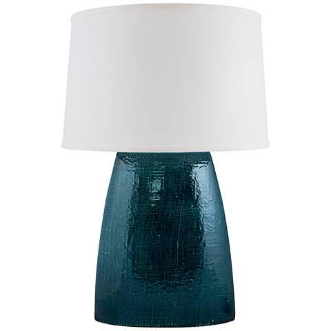 Ellis Tropical Turquoise Gloss Burlap Ceramic Table Lamp