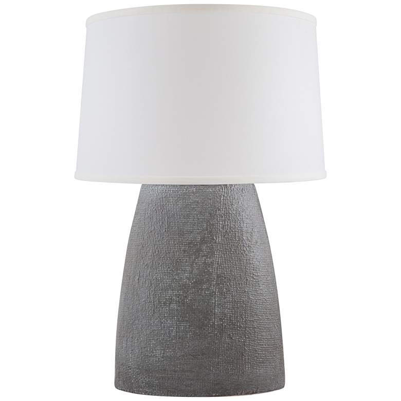 Ellis White Washed Gray Burlap Ceramic Table Lamp