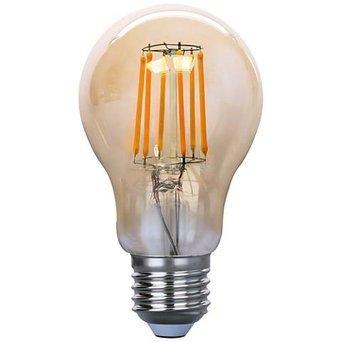 75W Equivalent Amber 8W LED Filament A19 Standard Bulb