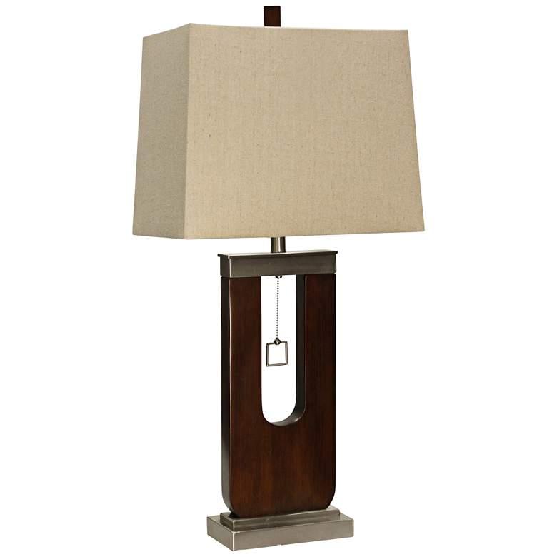 Burlingham Dark Oak Wood and Metal Table Lamp
