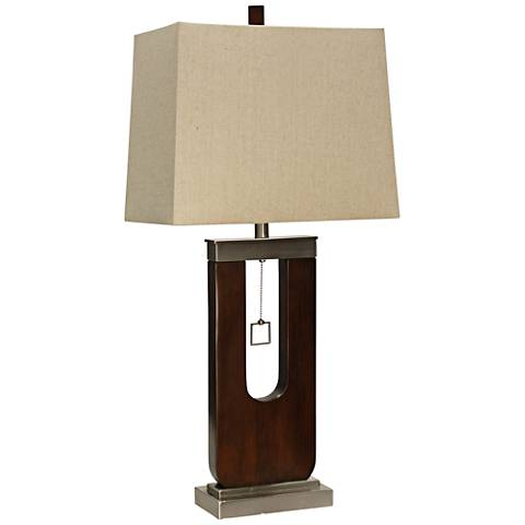 Burlingham Dark Oak Wood and Metal Table Lamp