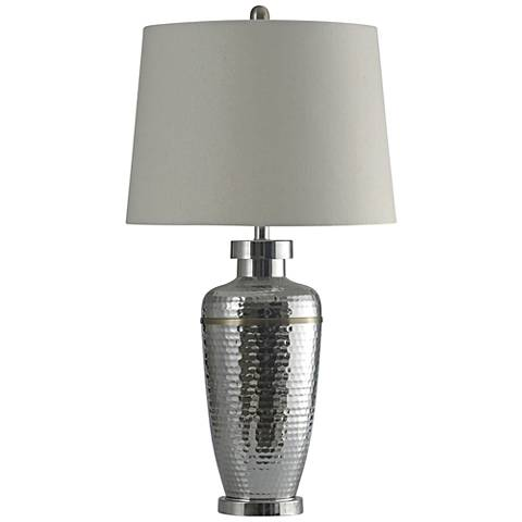 Arian Silver Hammered Metal Table Lamp