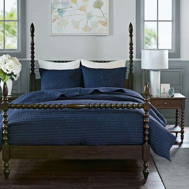 Serene Blue 3-Piece Cotton Coverlet Set