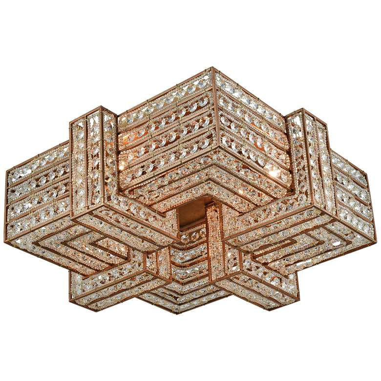 "Lexicon 19"" Wide Matte Gold and Crystal Ceiling Light"