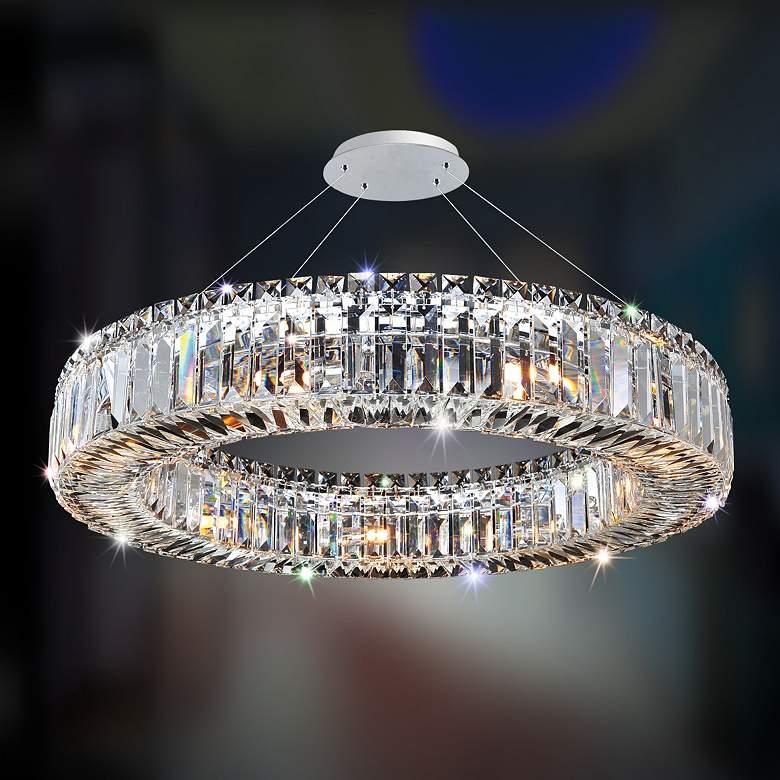 """Allegri Rondelle 26"""" Wide Chrome Crystal Ring Pendant Light"""