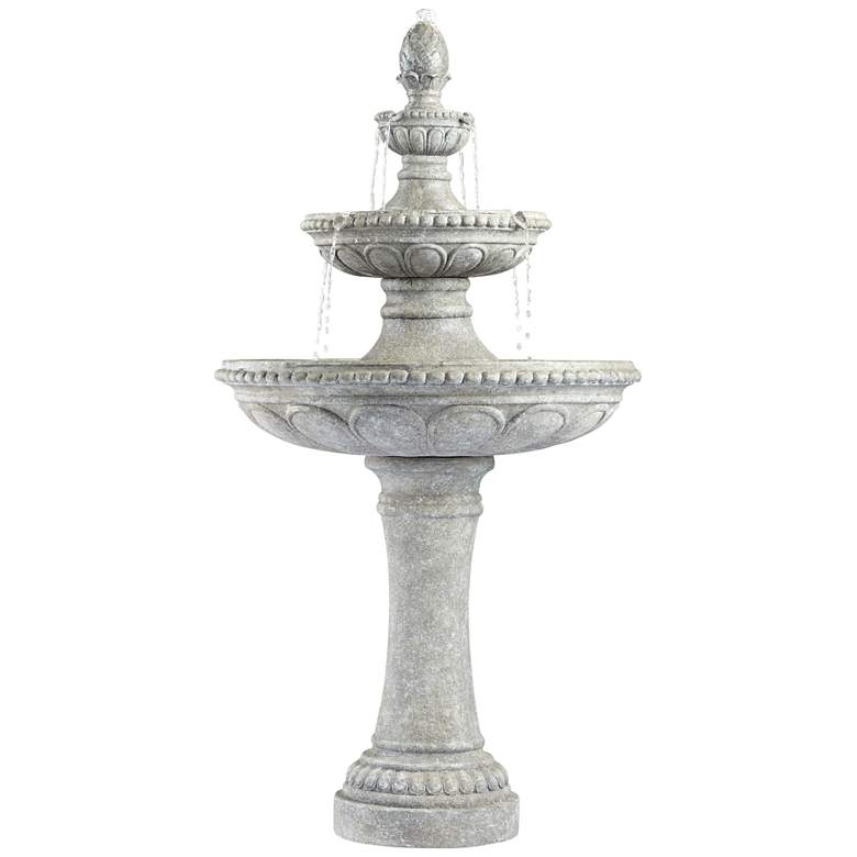 """Pineapple 44"""" High Old Stone 3-Tier Outdoor Fountain"""
