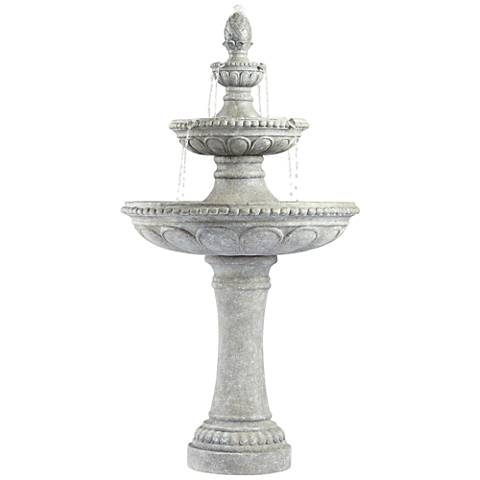 "Pineapple 44"" High Old Stone 3-Tier Outdoor Fountain"