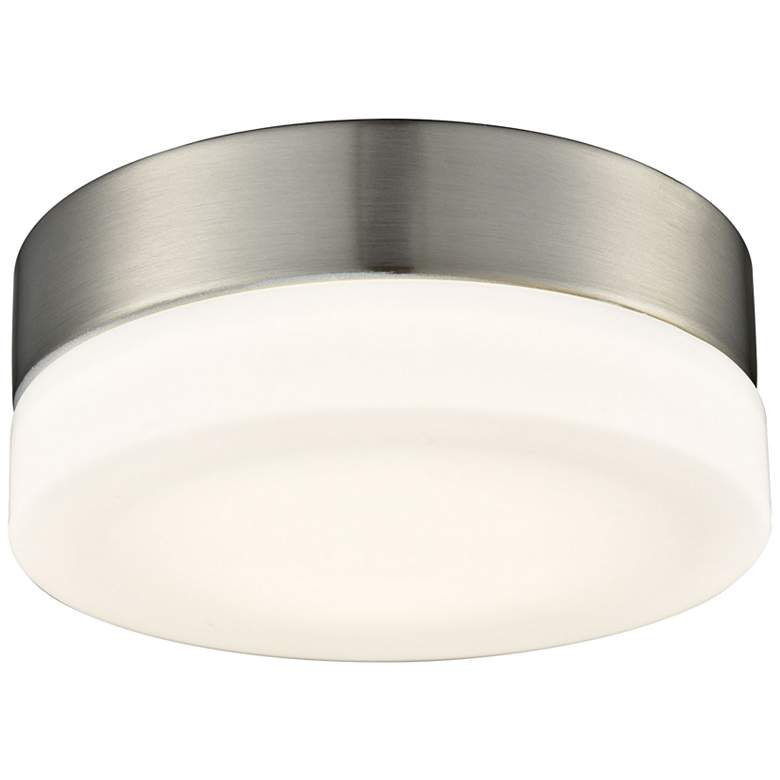 """Holmby 6"""" Wide Satin Nickel Round LED Ceiling Light"""
