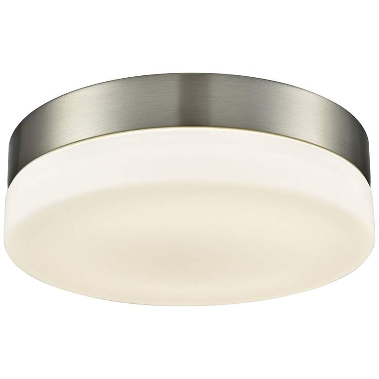 """Holmby 9"""" Wide Satin Nickel Round LED Ceiling Light"""