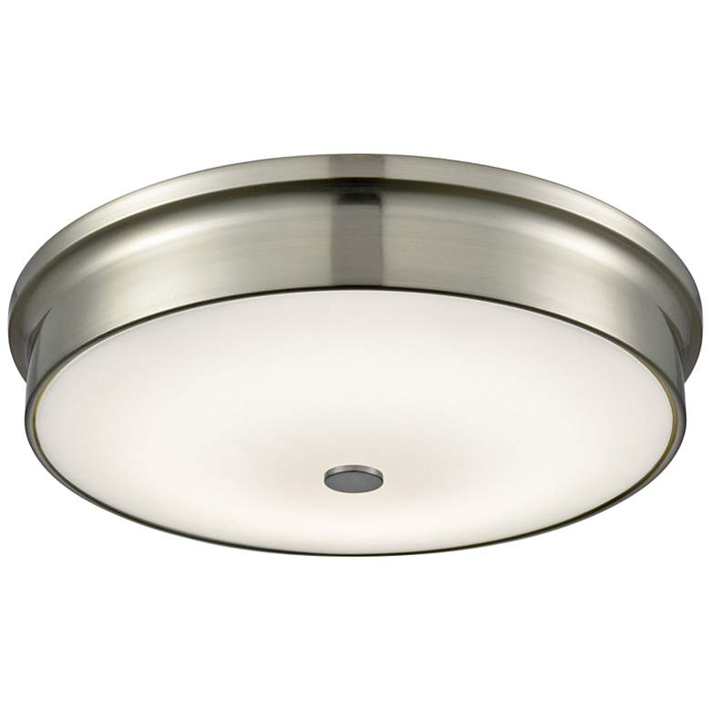 """Towne 15"""" Wide Satin Nickel Round LED Ceiling Light"""