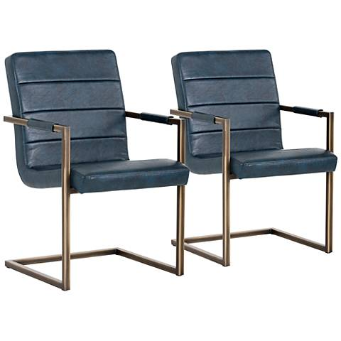 Jafar Blue Faux Leather Cantilever Armchairs Set of 2