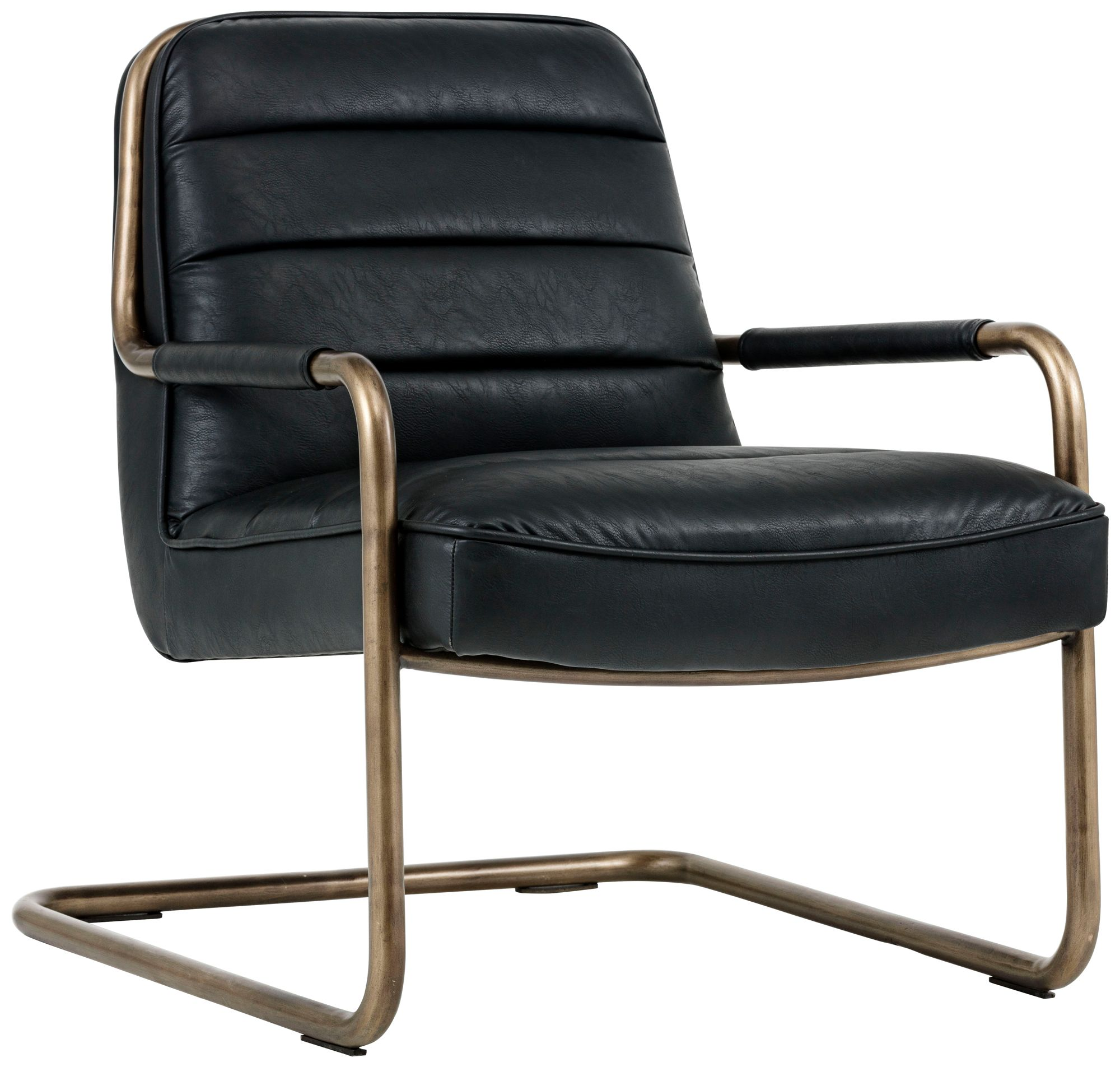 Lincoln Vintage Black Faux Leather Lounge Chair