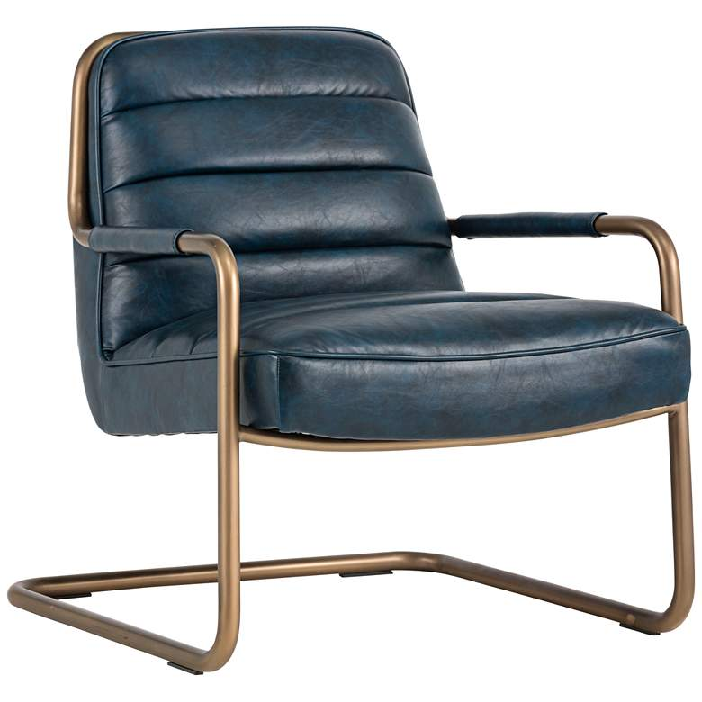 Lincoln Vintage Blue Faux Leather Lounge Chair
