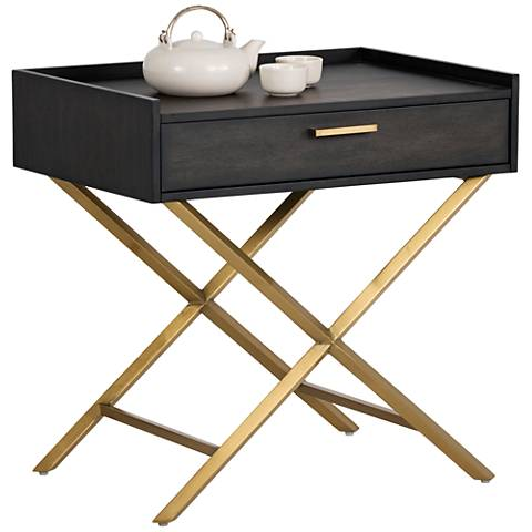 Tanana Smoked Gray and Brushed Brass End Table