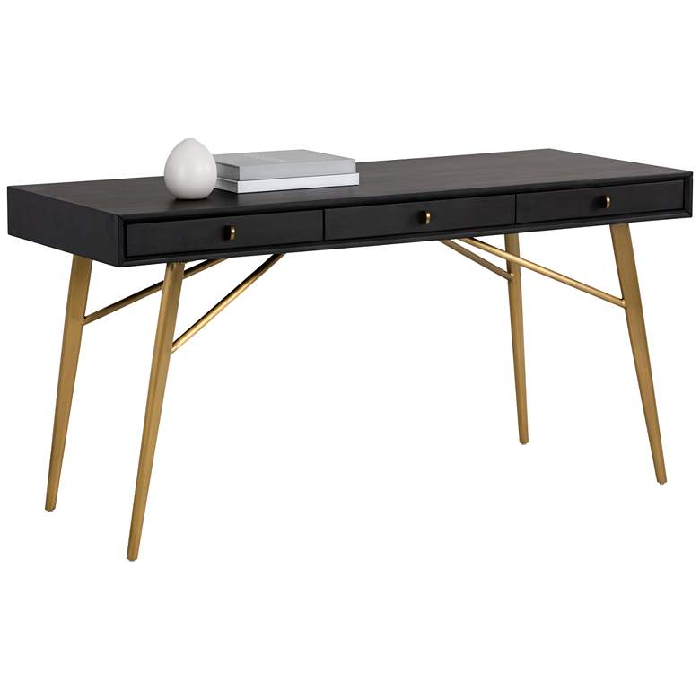 """Giana 59"""" Wide Smoked Gray and Brushed Brass 3-Drawer Desk"""