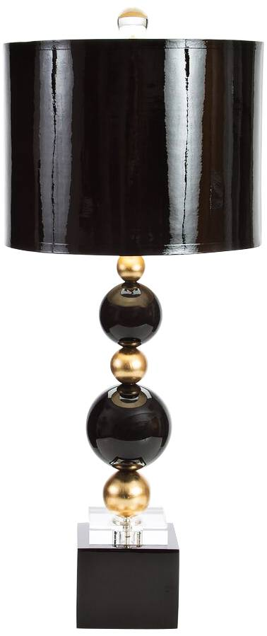 Couture meg caswell sheridan black lacquer table lamp