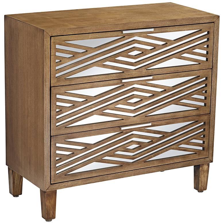 Mason 33 3/4 Wide Oak Wood and Mirrored 3-Drawer Cabinet