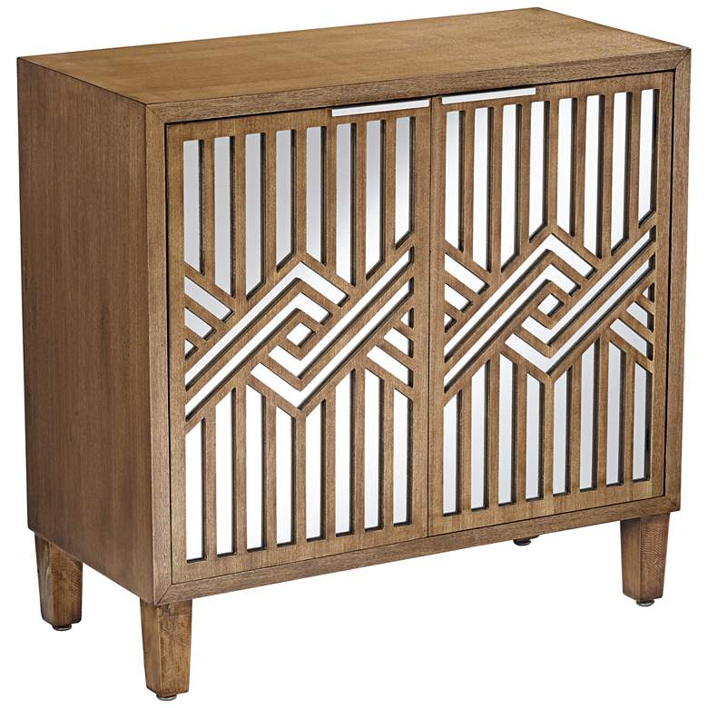 Mason 33 3/4 Wide Oak Wood and Mirrored 2-Door Cabinet