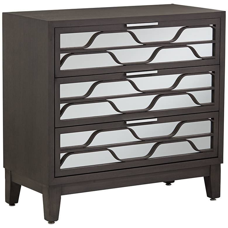 """Carson 33 3/4"""" Wide Mirrored 3-Drawer Wood Accent Chest"""