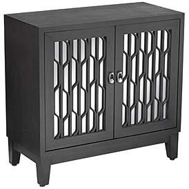 Carson 34 Wide Espresso Wood Mirrored 2 Door Cabinet
