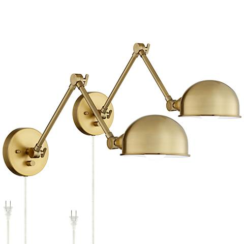 Somers Antique Brass LED Wall Lamp Set of 2