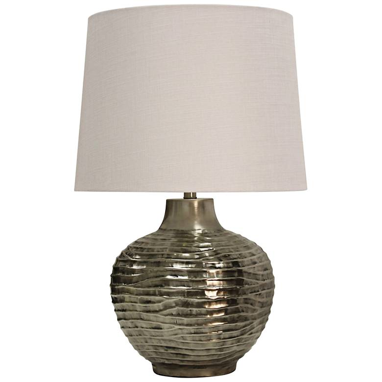 Mariposa Aged Silver Wave Design Embossed Metal Table Lamp
