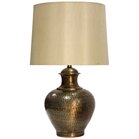 Midpines Antique Brass Embossed Design Metal Table Lamp