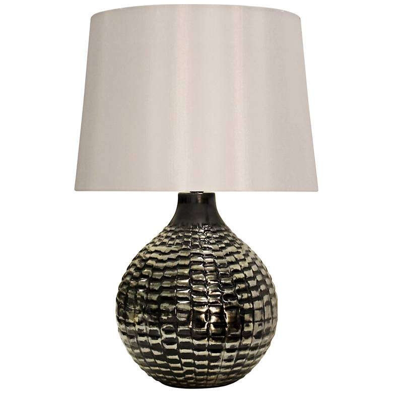 Catheys Antique Silver Highly Textured Metal Table Lamp